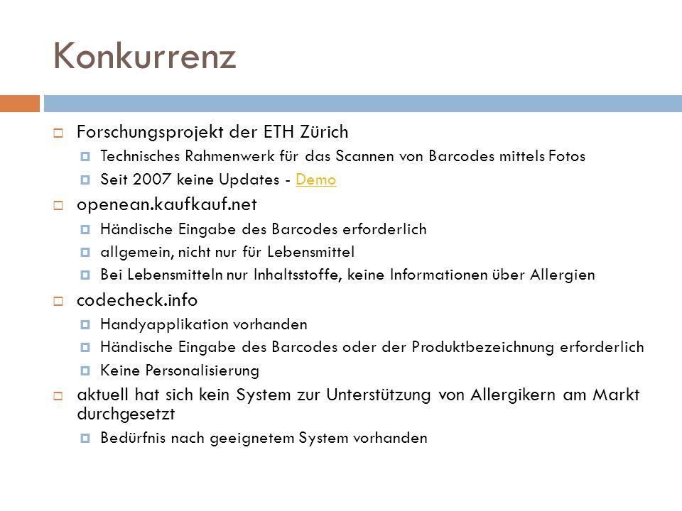Konkurrenz Forschungsprojekt der ETH Zürich openean.kaufkauf.net
