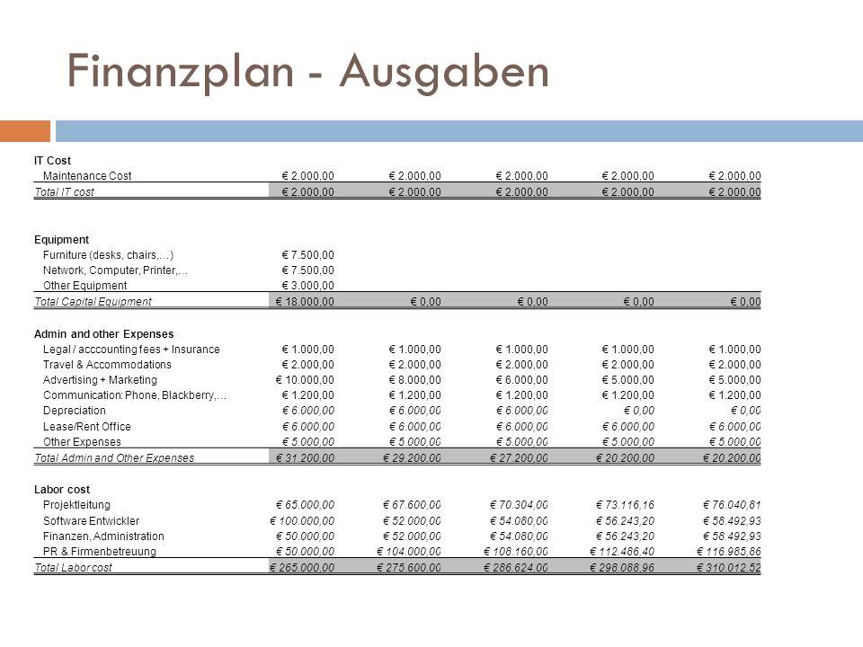 Finanzplan - Ausgaben IT Cost Maintenance Cost € 2.000,00