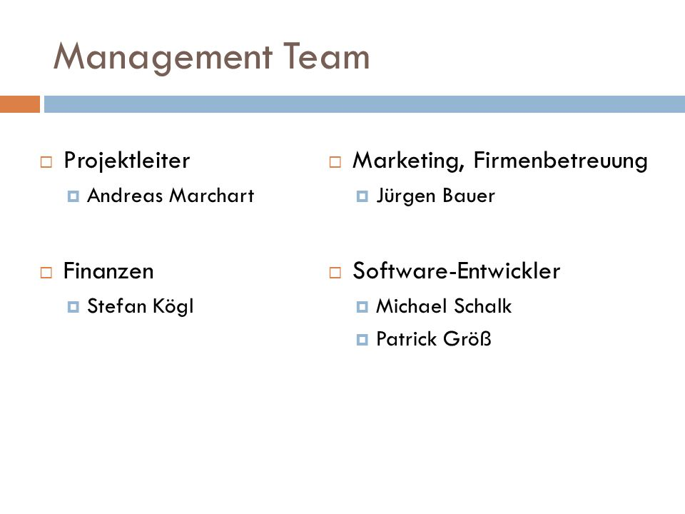 Management Team Projektleiter Finanzen Marketing, Firmenbetreuung