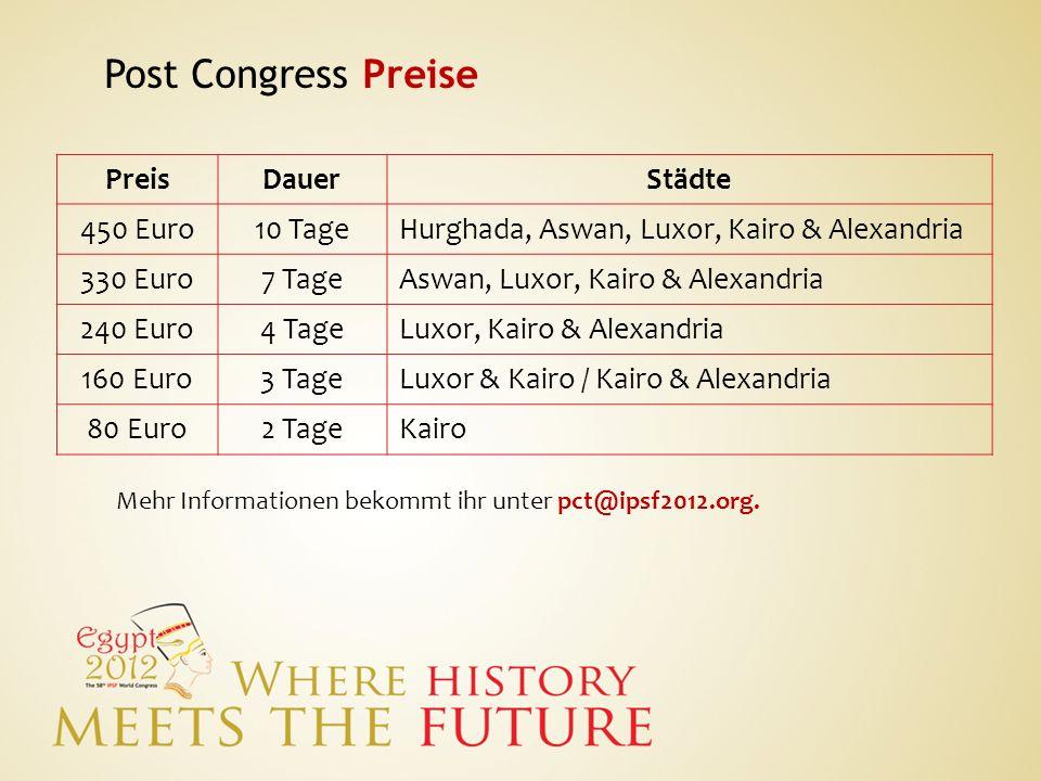 Post Congress Preise Preis Dauer Städte 450 Euro 10 Tage