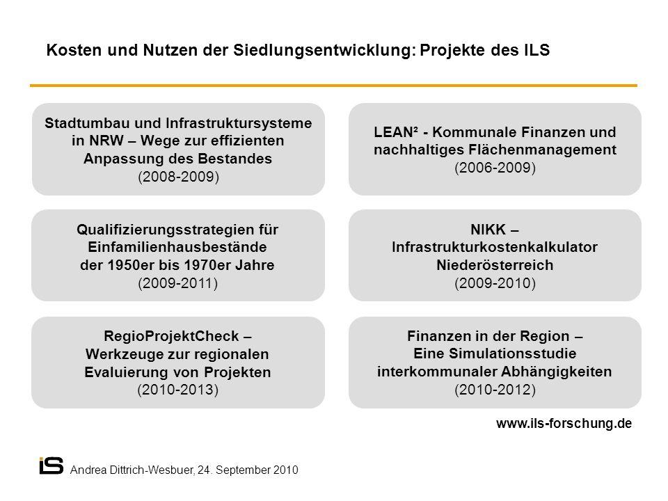 Kosten und Nutzen der Siedlungsentwicklung: Projekte des ILS