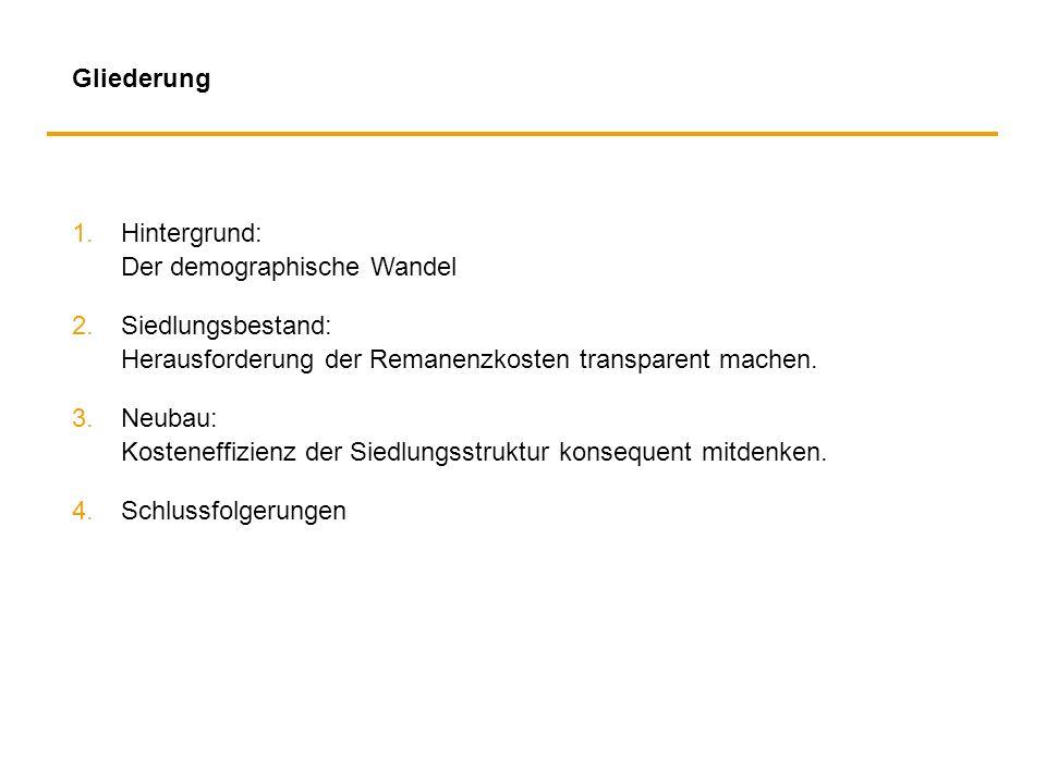 Gliederung 1. Hintergrund: Der demographische Wandel. 2. Siedlungsbestand: Herausforderung der Remanenzkosten transparent machen.