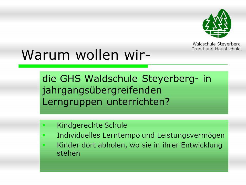 Warum wollen wir- Waldschule Steyerberg. Grund-und Hauptschule. die GHS Waldschule Steyerberg- in jahrgangsübergreifenden Lerngruppen unterrichten