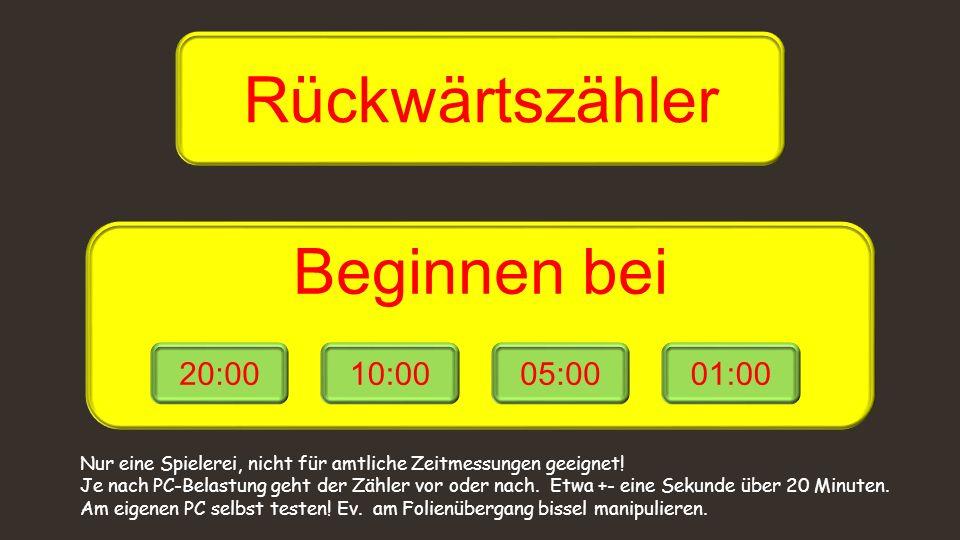 Rückwärtszähler Beginnen bei 20:00 10:00 05:00 01:00