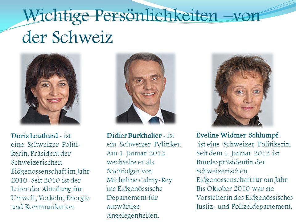 Wichtige Persönlichkeiten –von der Schweiz