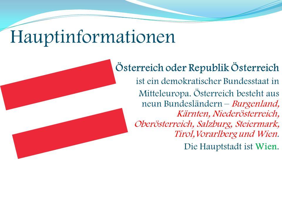 Hauptinformationen Österreich oder Republik Österreich