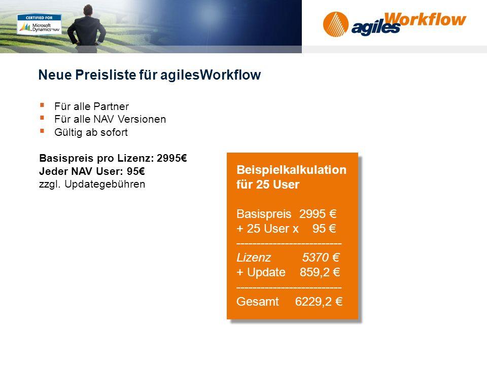 Neue Preisliste für agilesWorkflow