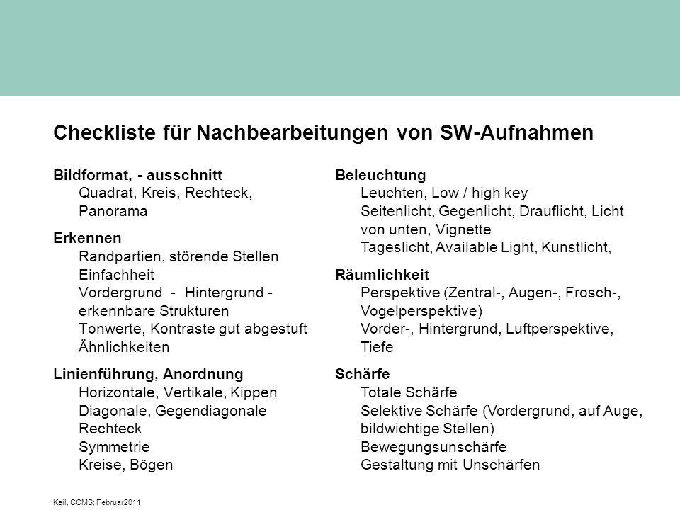 Checkliste für Nachbearbeitungen von SW-Aufnahmen