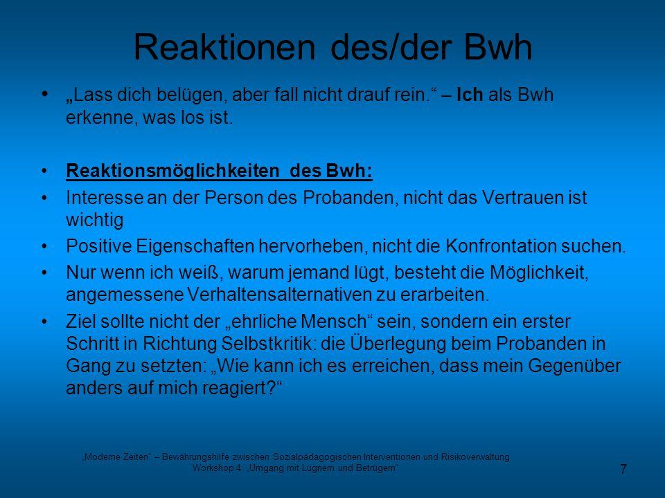 Reaktionen des/der Bwh