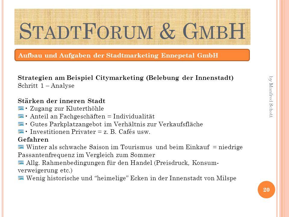 StadtForum & GmbH Aufbau und Aufgaben der Stadtmarketing Ennepetal GmbH. Strategien am Beispiel Citymarketing (Belebung der Innenstadt)