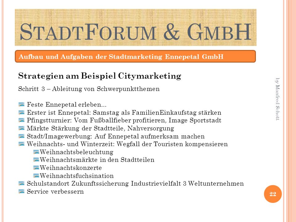 StadtForum & GmbH Strategien am Beispiel Citymarketing