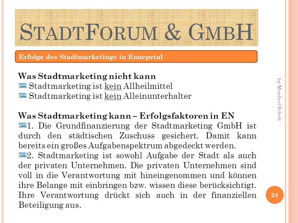 StadtForum & GmbH Was Stadtmarketing nicht kann