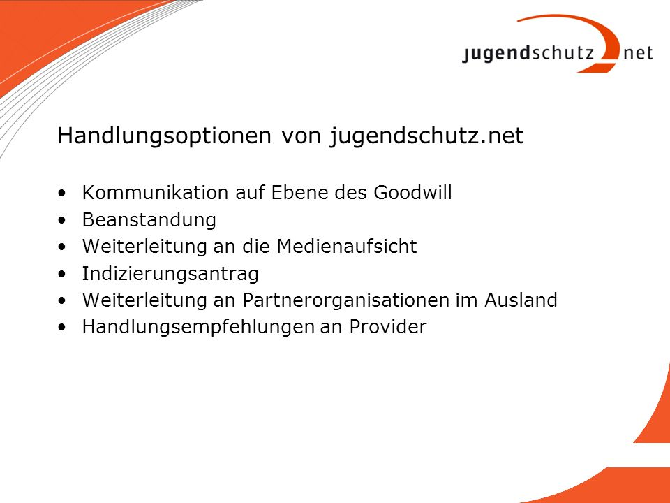 Handlungsoptionen von jugendschutz.net