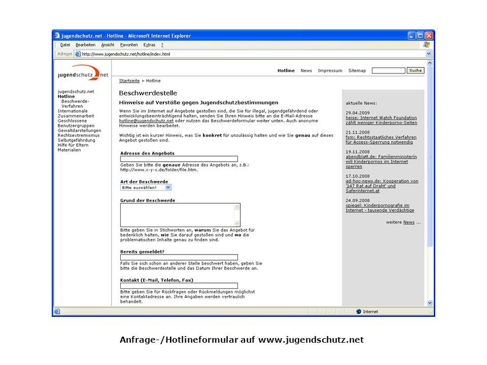 Anfrage-/Hotlineformular auf www.jugendschutz.net