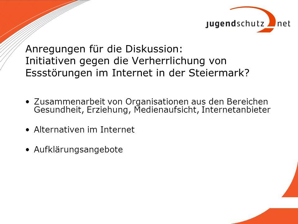 Anregungen für die Diskussion: Initiativen gegen die Verherrlichung von Essstörungen im Internet in der Steiermark