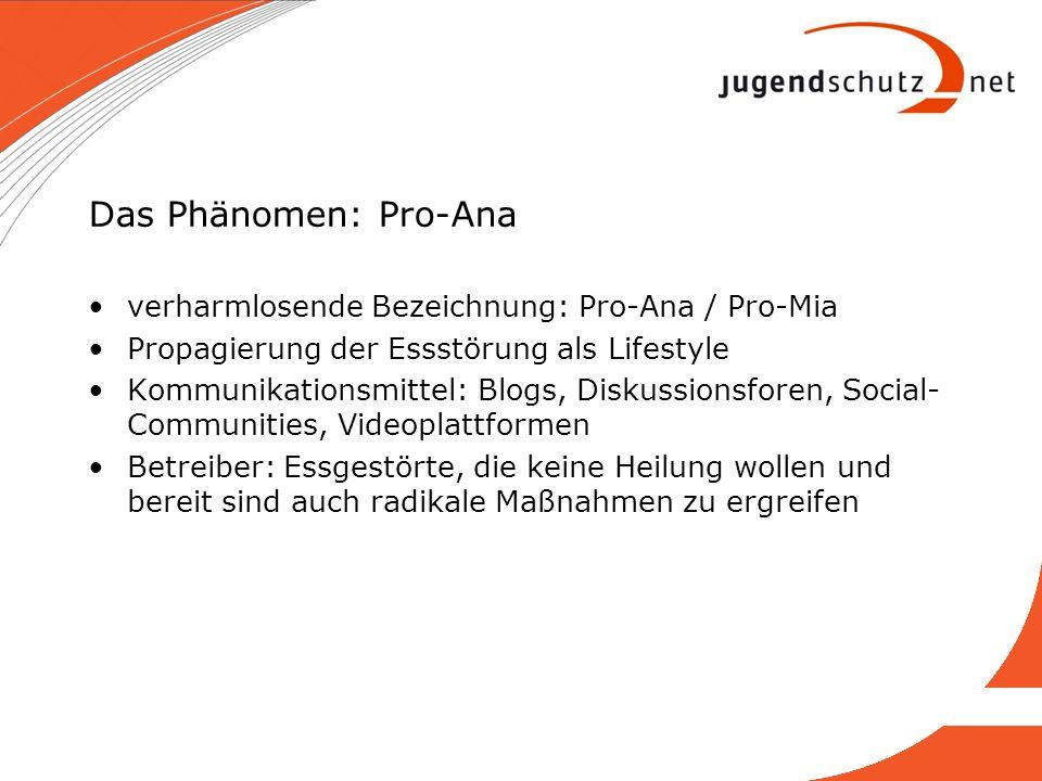 Das Phänomen: Pro-Ana verharmlosende Bezeichnung: Pro-Ana / Pro-Mia