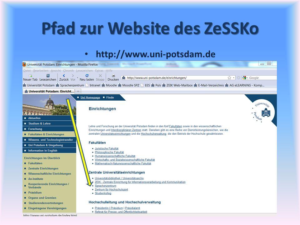 Pfad zur Website des ZeSSKo
