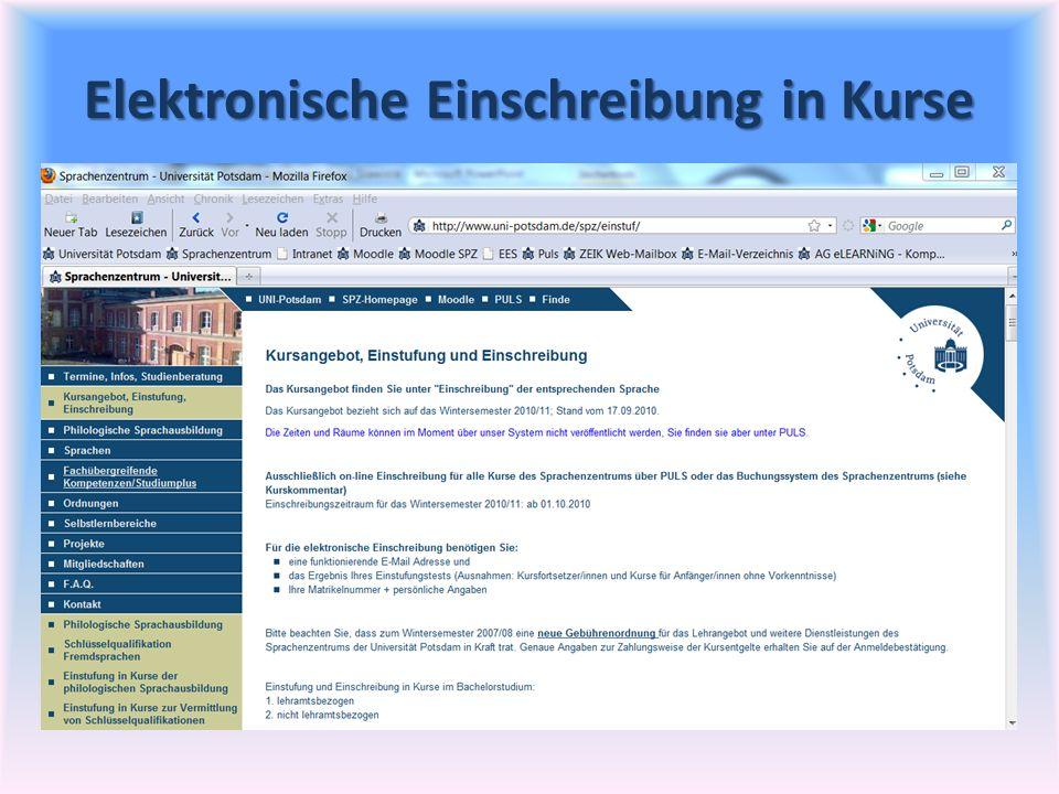 Elektronische Einschreibung in Kurse