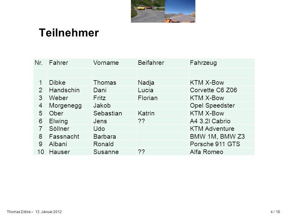 Teilnehmer Nr. Fahrer Vorname Beifahrer Fahrzeug 1 Dibke Thomas Nadja