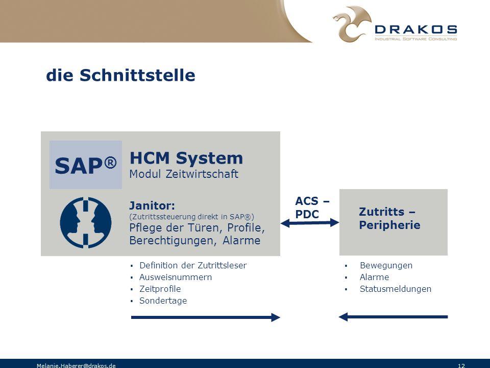 SAP® die Schnittstelle HCM System Modul Zeitwirtschaft ACS – Janitor: