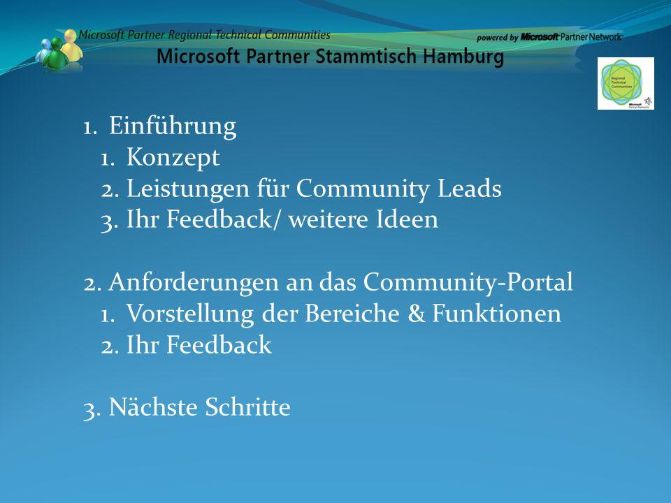 Einführung Konzept. Leistungen für Community Leads. Ihr Feedback/ weitere Ideen. Anforderungen an das Community-Portal.