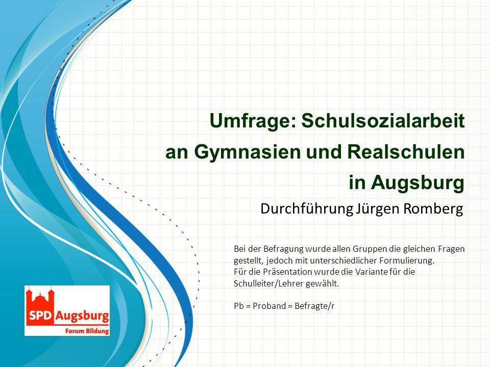 Umfrage: Schulsozialarbeit an Gymnasien und Realschulen in Augsburg