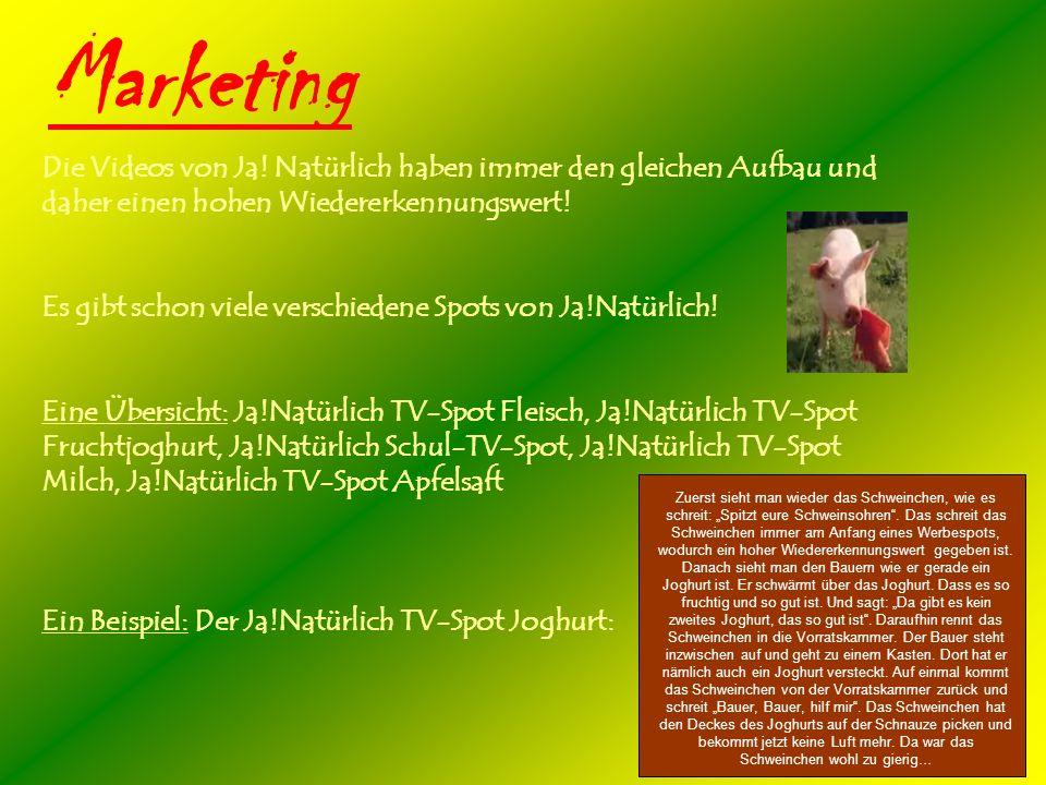 Marketing Die Videos von Ja! Natürlich haben immer den gleichen Aufbau und daher einen hohen Wiedererkennungswert!
