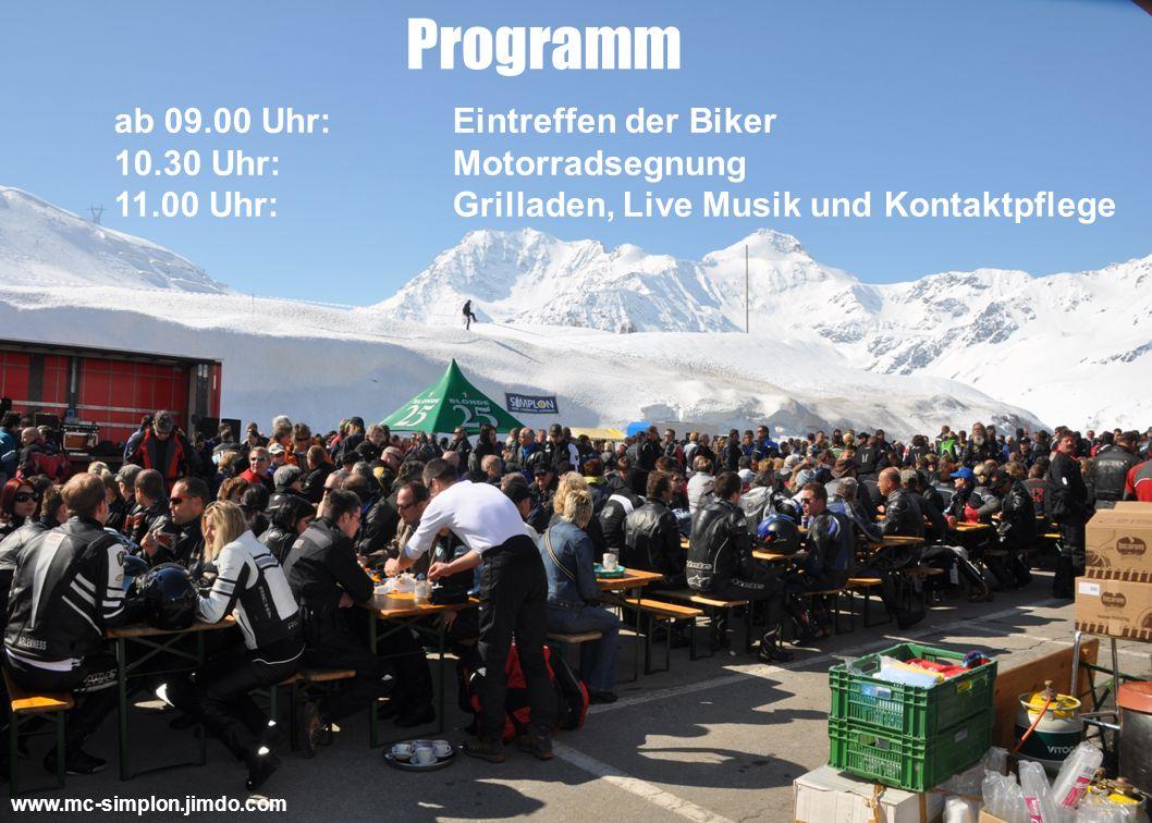Programm ab 09.00 Uhr: Eintreffen der Biker 10.30 Uhr: Motorradsegnung