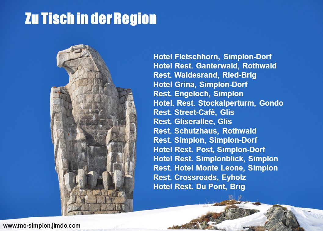 Zu Tisch in der Region Hotel Fletschhorn, Simplon-Dorf