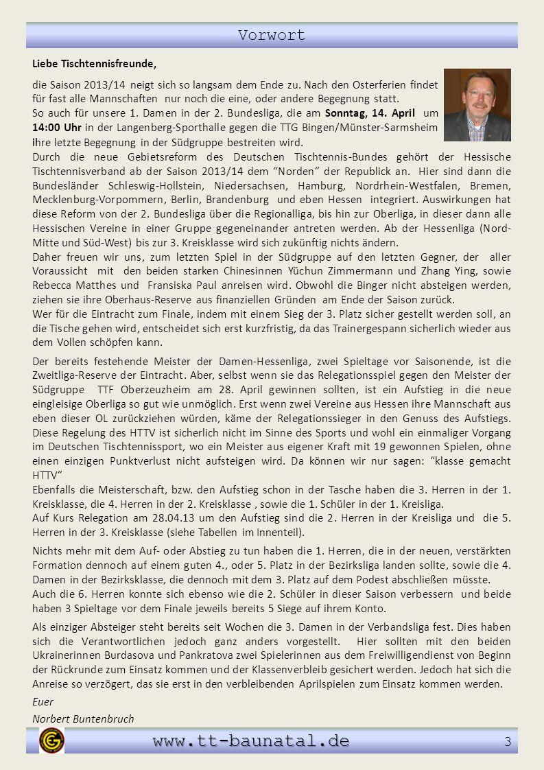 www.tt-baunatal.de 3 Vorwort Liebe Tischtennisfreunde,