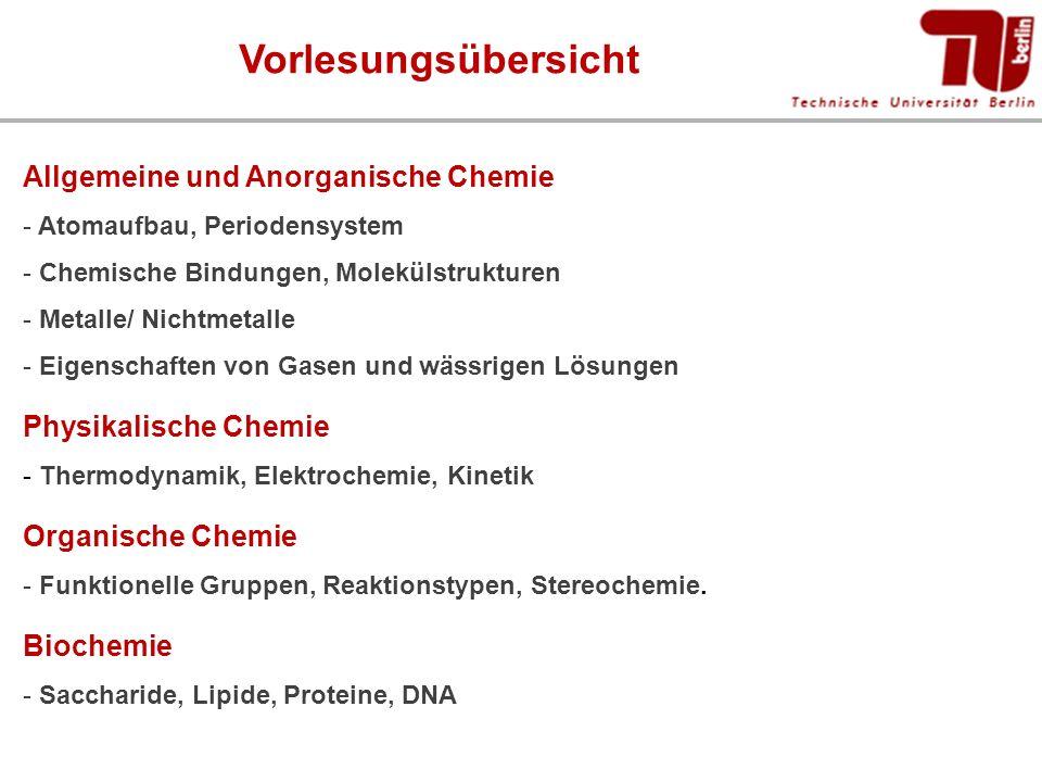 Vorlesungsübersicht Allgemeine und Anorganische Chemie