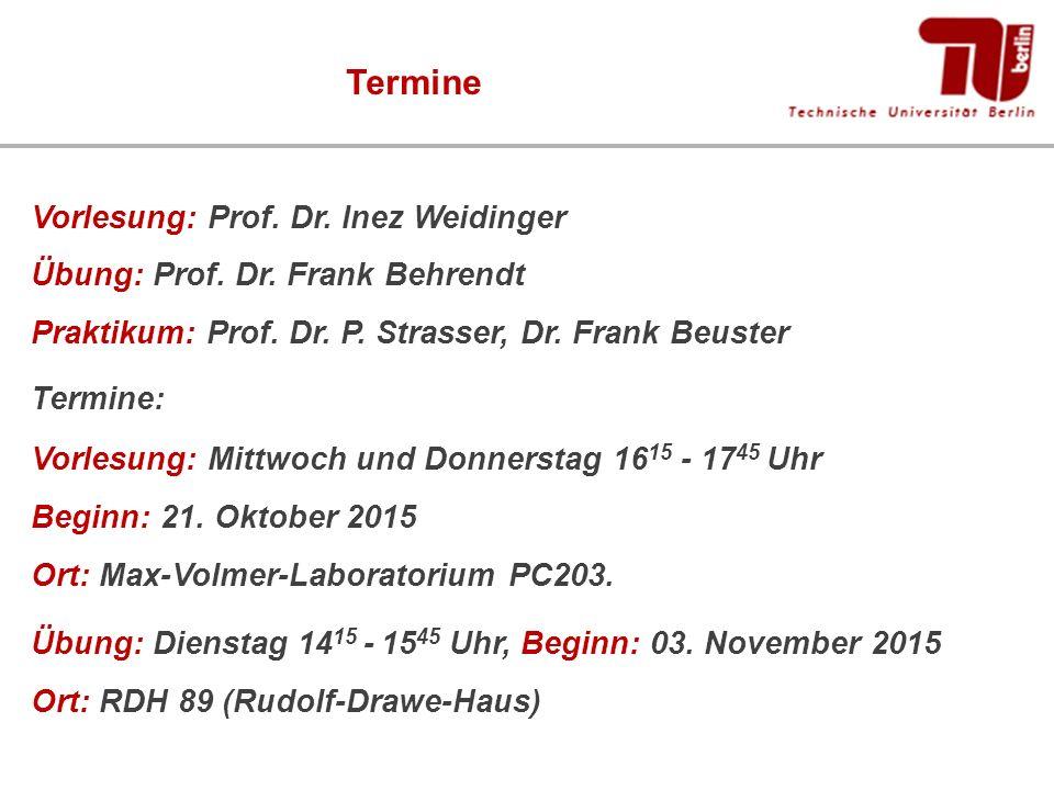 Termine Vorlesung: Prof. Dr. Inez Weidinger