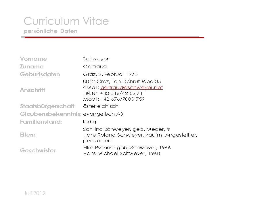 Curriculum Vitae persönliche Daten