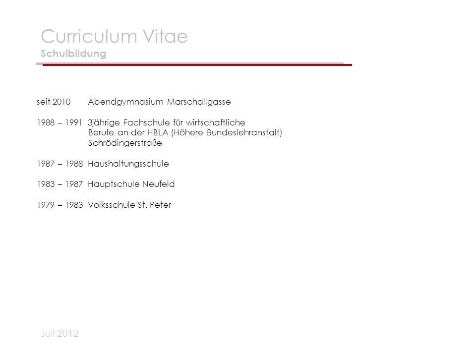 Curriculum Vitae Schulbildung
