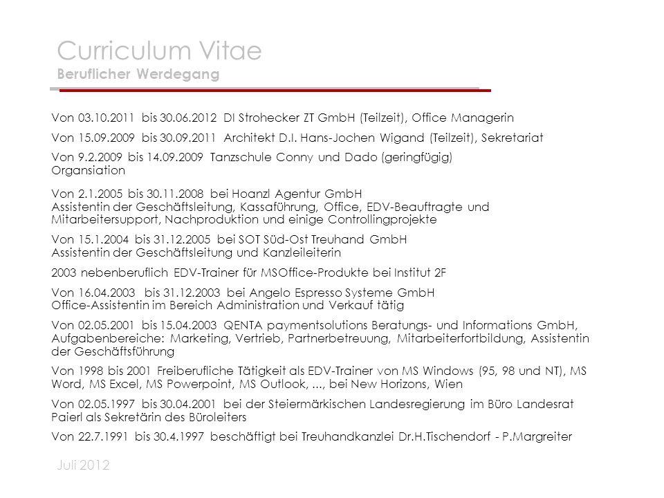 Curriculum Vitae Beruflicher Werdegang