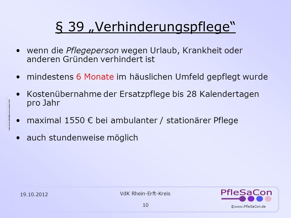 """§ 39 """"Verhinderungspflege"""