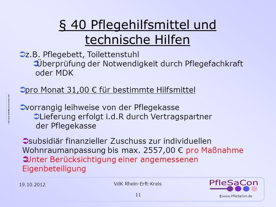 § 40 Pflegehilfsmittel und technische Hilfen