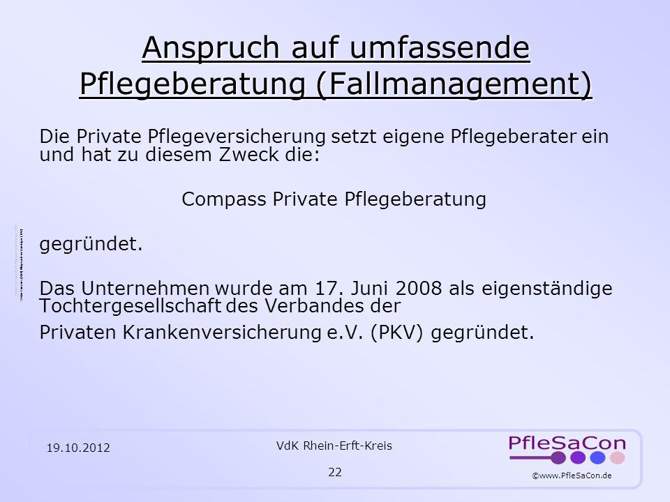 Anspruch auf umfassende Pflegeberatung (Fallmanagement)