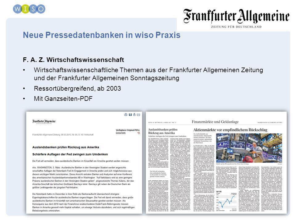 Neue Pressedatenbanken in wiso Praxis