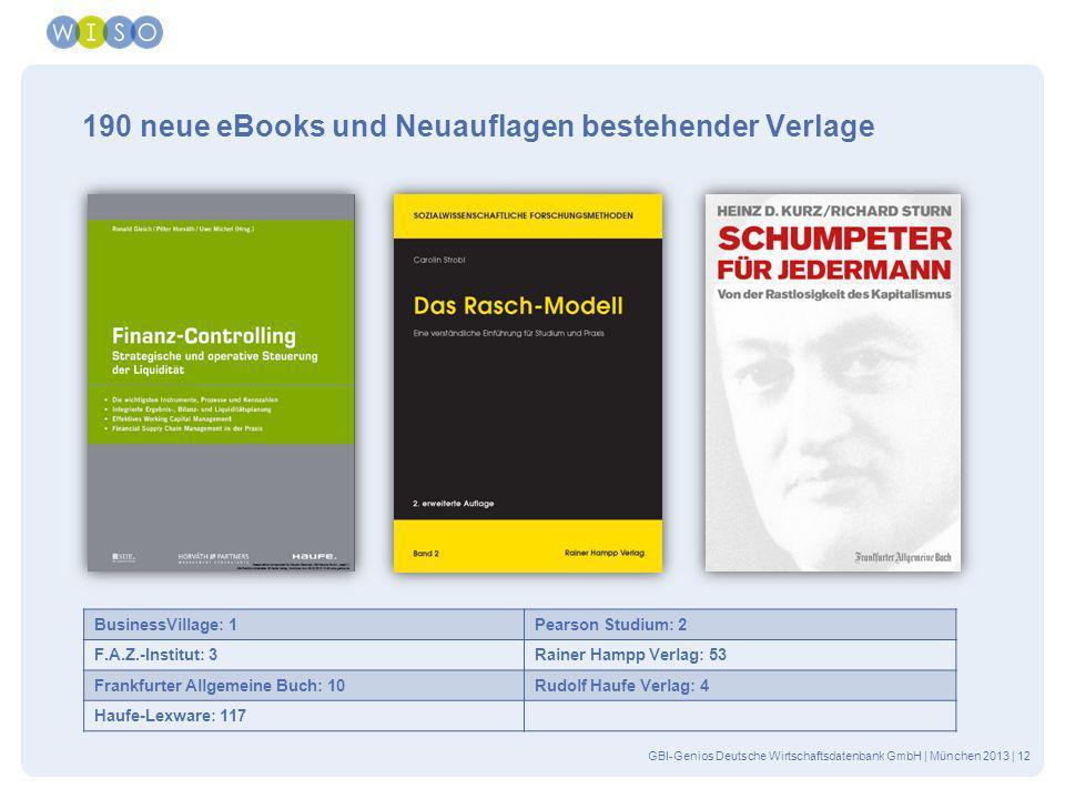 190 neue eBooks und Neuauflagen bestehender Verlage