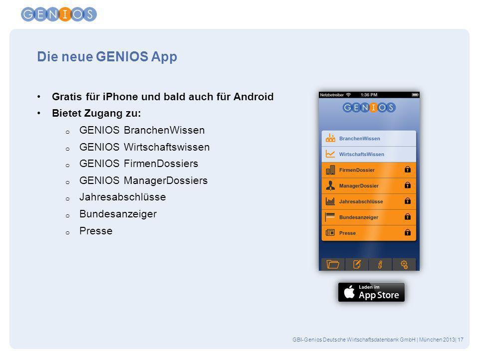 Die neue GENIOS App Gratis für iPhone und bald auch für Android