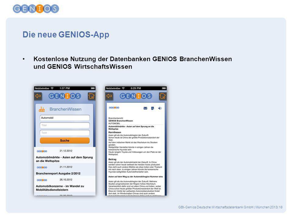Die neue GENIOS-App Kostenlose Nutzung der Datenbanken GENIOS BranchenWissen und GENIOS WirtschaftsWissen.