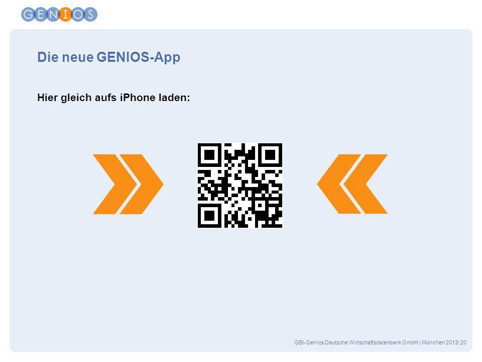 Die neue GENIOS-App Hier gleich aufs iPhone laden: