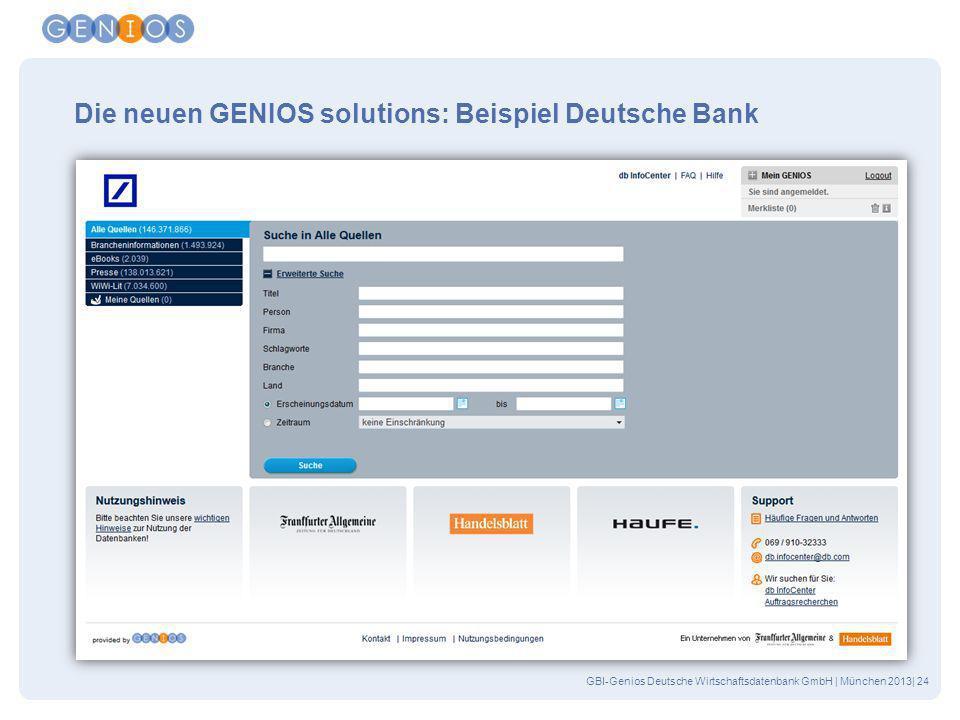 Die neuen GENIOS solutions: Beispiel Deutsche Bank