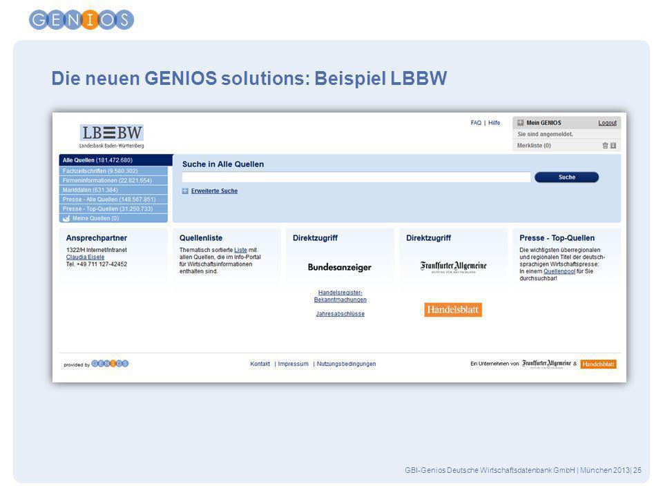 Die neuen GENIOS solutions: Beispiel LBBW