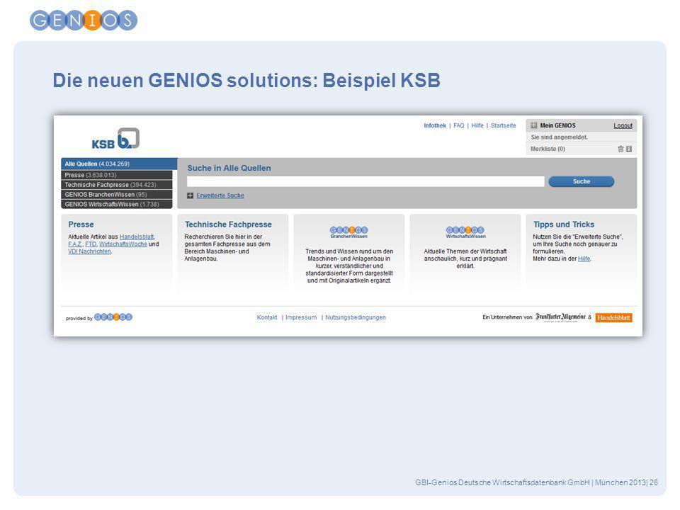 Die neuen GENIOS solutions: Beispiel KSB