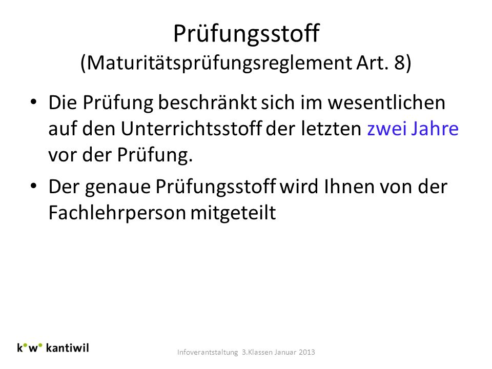 Prüfungsstoff (Maturitätsprüfungsreglement Art. 8)