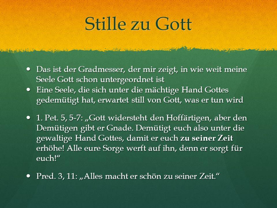 Stille zu Gott Das ist der Gradmesser, der mir zeigt, in wie weit meine Seele Gott schon untergeordnet ist.