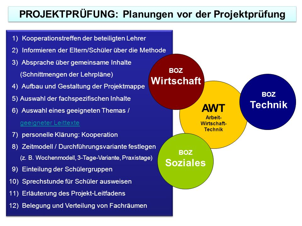 AWT PROJEKTPRÜFUNG: Planungen vor der Projektprüfung Wirtschaft