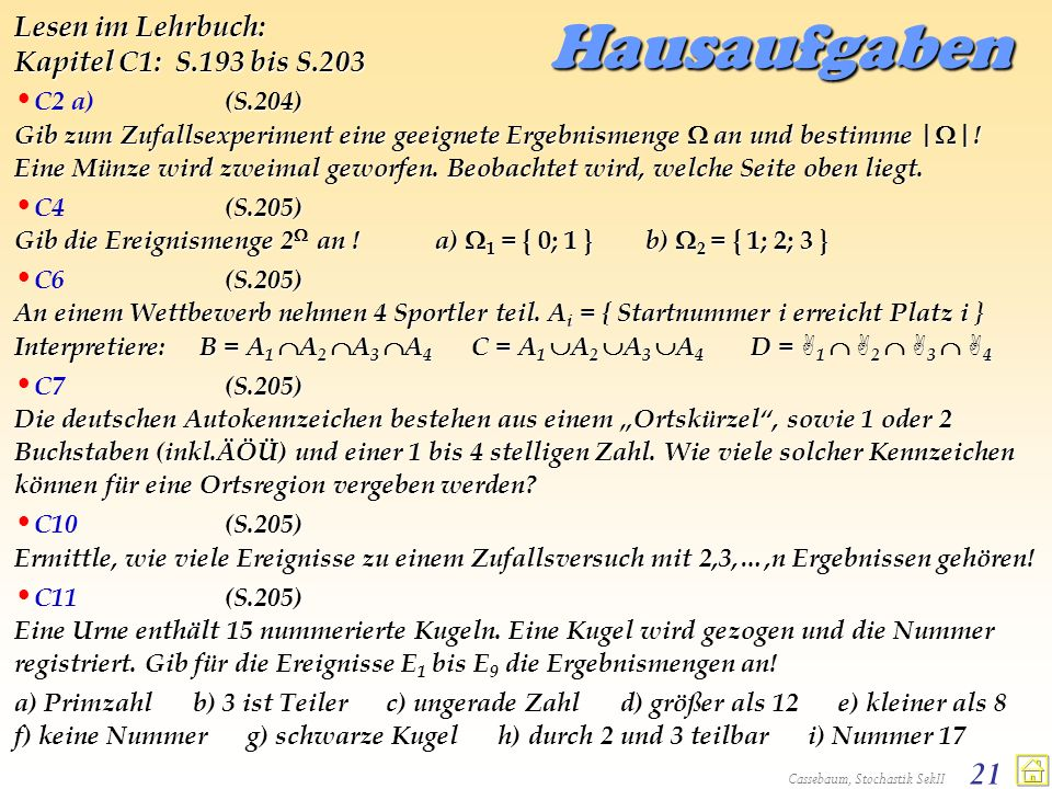 Hausaufgaben Lesen im Lehrbuch: Kapitel C1: S.193 bis S.203